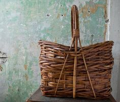 Vintage Woven Basket Hand Woven Basket Folk Art by foundhere, $130.00
