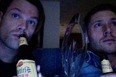 Jared and Jensen Watching Supernatural
