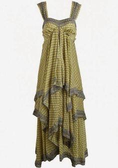Yellow Floral Print Bow Chiffon Maxi Dress