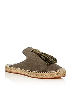 Bettye Muller Rabat Tassel Espadrille Mules | Fabric upper, leather lining, leather and rubber sole | Made in Spain | Fits true to size. If between sizes, order the next size up  | Available in full s