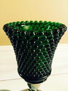 Vintage Votive Cups Hobnail Emerald Green Glass - Sets of 2 - by FelixVintageMarket. Pin now & Shop later.