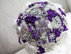 purple brooch bouquet. love love love this one!
