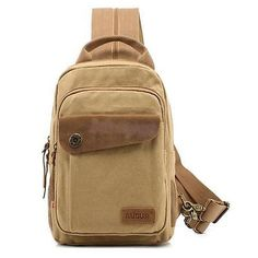 Men Canvas Chest Backpack Shoulder Sling Satchel Bag Hiking Travel Sports Pack