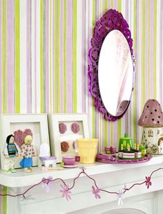 Pink Bedroom for girls - feature wall