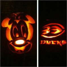 This fan did one Disney pumpkin and one Anaheim Ducks pumpkin. A talented artist!