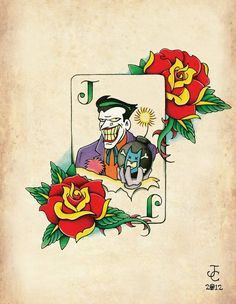 Items similar to Joker Card Neo-Traditional, Old School Tattoo Flash Print on Etsy Batman Tattoo, Joker Card Tattoo, Joker Tattoos, Game Tattoos, Comic Tattoo, Tatoos, Playing Card Tattoos, Joker Playing Card, Neo Traditional Tattoo