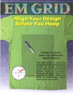 Align your design BEFORE you hoop.   In the past, doing embroidery meant using rulers or T-squares.... All 3 grid sizes offer the same outstanding features: •Pre-punched holes make it easy to mark items.   •Red lines for black and other dark colours   •Blue lines for all other colours   •Easy use with reference tags for multiple item jobs.   Mark more than one area at the same time . Great for double checking, all hoops have a square reference to the machine