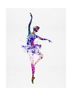 Ballerina Dancing Watercolor 2 Art Print at AllPosters.com