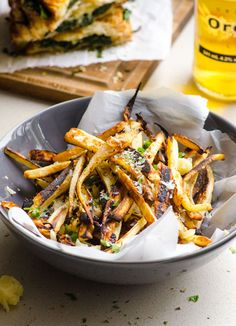 Parmesan Garlic Parsnip Fries - The next best thing to homemade regular and sweet potato fries. Thin and crispy.