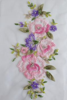 Hand-made applique in the colors of azaleas and alliums http://etsy.me/2mTy95V #couture #beaded #handembroidery#applique#accessories#highfashion#atelier#motif
