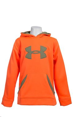 5e8410bc27642 Under Armour® Boys' Blaze Orange with Big Moss Green Logo Hoodie 1220777825  Athletic Outfits