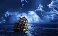 Truenos y relámpagos en la noche, la vela en alta mar Fondos de pantalla - 2560x1600
