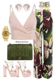 Summertime Fine by stylesbyglam on Polyvore featuring polyvore fashion style Erika Cavallini Semi-Couture Aquazzura Chanel Rolex Chloé clothing