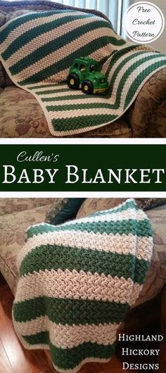 Free crochet pattern for Cullen's Baby Blanket. This blanket is the perfect size for cribs, car seats or just wrapping around a baby to keep him/her warm.