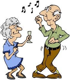 Cartoon Old People Birthday Party