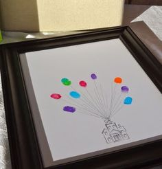 I love UP.!!!..How cute would this be for a guest book? All the guests fingerprints are the balloons supporting you. Love it!