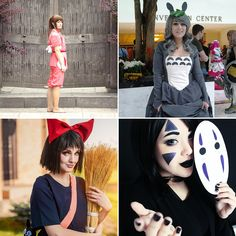 These cosplays are from the studio ghibli movies called Spirited Away, Totoro and Kiki's Delivery Service