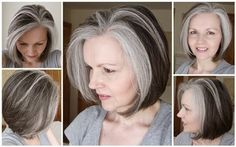 55 inspiring women who stopped dyeing their hair and showed everyone how to own their grey - Cabello Rubio Mom Hairstyles, Pretty Hairstyles, Gray Hair Highlights, Natural Highlights, Rock Your Hair, Grey Hair Inspiration, Grey Hair Don't Care, Platinum Hair, Auburn Hair