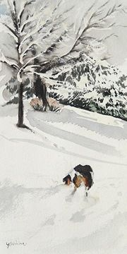 Snowy Day by yoshiko mishina Watercolor ~  x