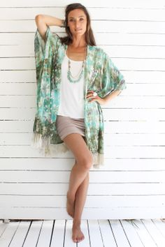 Kyana Kimono Emerald Waters - $309.00 from Myee Carlyle www.myeecarlyle.com.au/shop/Shop-our-Collection/Tops/Kyana-Kimono-Emerald-Waters/