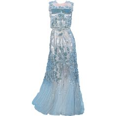 Satinee's collection - Elie Saab ❤ liked on Polyvore featuring dresses, gowns, long dresses, vestidos, elie saab, blue dress, elie saab evening gowns, elie saab gowns, blue gown and blue evening dresses