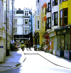 A side street with colourful shophouses, Brighton