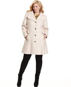 betsey johnson plus size coat, wool-blend faux-fur corset flared