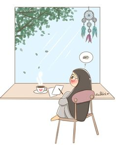 Cartoon Quotes, Cartoon Art, Tmblr Girl, Chibi, Hijab Drawing, Islamic Cartoon, Anime Muslim, Hijab Cartoon, Muslim Girls