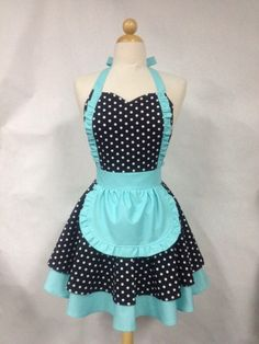 French Maid Apron Polka Dot with Aqua - Retro Full Apron Retro Apron Patterns, Apron Pattern Free, Vintage Sewing Patterns, Dress Patterns, Apron Tutorial, Cute Aprons, Apron Designs, French Maid, Sewing Aprons