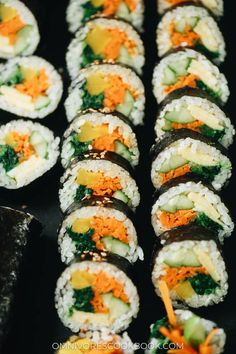 Vegetarian Kimbap is a Korean classic featuring egg, rice, and veggies rolled in seaweed. It's both refreshing and satisfying and perfect for an appetizer, snack, or picnic. {Gluten-Free, Vegan-Adaptable} Korean Pickled Radish, Pickled Radishes, Vegan Vegetarian, Vegetarian Recipes, Snack Recipes, Snacks, Kimbap, Asian Grocery, Baked Tofu