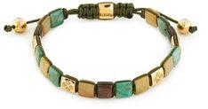Shamballa Jewels 'Shamballa Lock' diamond gemstone 18k yellow gold cord bracelet