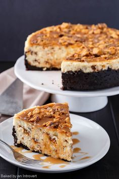 Butterfinger Cheesecake with Caramel Drizzle