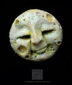 Hand sculpted Glittering Full Moon Brooch Pin by PixieHillStudio