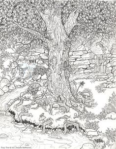 Fairy Tree from Jennifer Mc Pherson great details for an adult coloring page