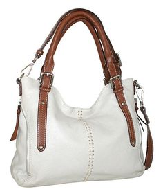 This Bone Zip in My Side Leather Satchel by Nino Bossi Handbags is perfect! #zulilyfinds
