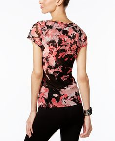 INC International Concepts Floral-Print Mesh Top, Only at Macy's - Tops - Women - Macy's