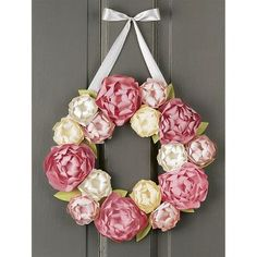 """These pretty peonies are the pick of the season! Adorn your door or decorate your home with this lovely wreath. Kit makes: 1 wreath approximately 14"""" x 14"""""""