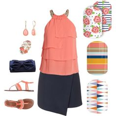Coral & Navy 2016 Spring Jamberry by jessica-osgood on Polyvore featuring polyvore, fashion, style, Morgan, Topshop, Tory Burch, La Regale, Anne Klein, Vintage America and clothing