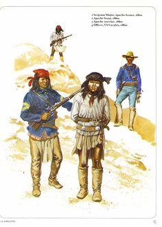1:Sergeant Major,Apache Scouts,1880s.2:Apache Scout,1880s.3:Apache warrior,1880s.4:Officer,US Cavalry,1880s.