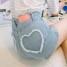 0bc8963bc4 Heart Embroidery Tassel Denim Shorts KF20031. unzzy