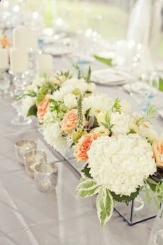 Rectangular Peony/Peach Rose Wedding Centerpiece - perfect if you hate those tall centerpieces that always block conversation!