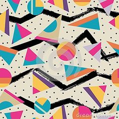 Illustration about Seamless abstract geometric pattern in retro memphis style, fashion It can be used in printing, website backdrop and fabric design. Illustration of wallpaper, shape, geometric - 58155619 Geometric Patterns, Geometric Shapes, Print Patterns, Print Pattern Design, Vintage Pattern Design, Fun Patterns, Abstract Pattern, Motif Vintage, Retro Vintage