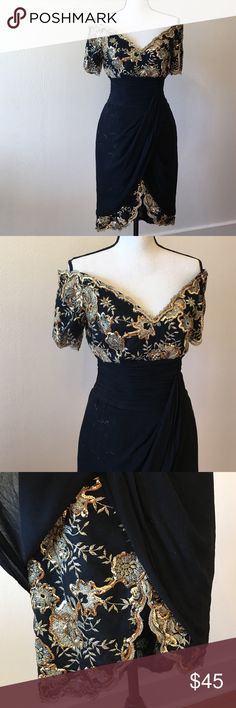 Vintage off-shoulder wrap chiffon & sequin 👗 Absolutely gorgeous! This dress is a small but the bust is more for a medium so it is best worn with a push-up bra or if you have larger breasts it'll fit great!! It has been worn but still looking great 👍 Dresses