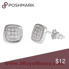 Sterling Silver Stud men's earrings Metal :	white gold 18k layered on sterling silver .925  Stone Type :	Cubic Zirconia ( CZ ) Approximate Width : 6 mm Approximate Height : 6 mm Approximate Length : 13 mm Approximate Weight: 1.1 grams Total amount of stone set on earrings : 18 Cubic Zirconia Item # : A09071404 3 Royal Dazzy Jewelry Earrings