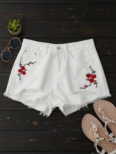 Embroidered Flower Ripped Hot Denim Shorts - White