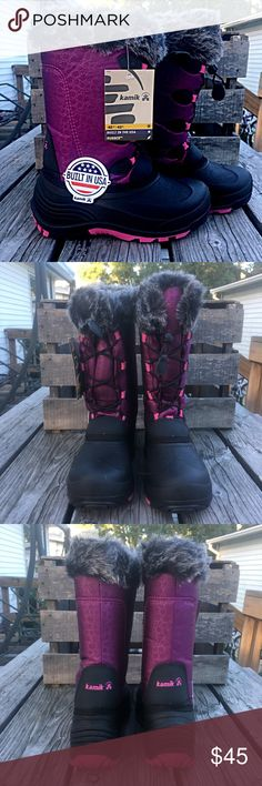 List! Kamik Purple Snow Boots! NEW! Lined with faux fur! Waterproof! Girls size 7 - may work for a woman's size 8.5 or 9! New in box! LC:btshf10 Kamik Shoes Rain & Snow Boots