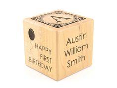 First Birthday Gift Personalized Baby Wooden Block Engraved Baby Keepsake Toy Adoption Cube Newborns First Alphabet Nursery Decor Blocks on Etsy, $25.00