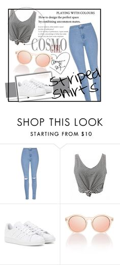 """""""Striped Shirts"""" by alinka-titova ❤ liked on Polyvore featuring Glamorous, adidas and stripedshirt"""