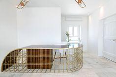 millipede reception desk design: eleftherios ambatzis materials: bronze and palisander veneer wood Mykonos, Reception Desk Design, Entryway Tables, Objects, Architecture, Elegant, Wood, Counter, Bronze