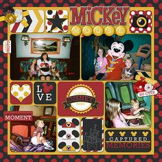 This was my son's first time at Disneyland, so of course we had to go see Mickey. They were so excited to meet the mouse himself in person! Layout made from Kellybell Designs Mouse Memories kit.